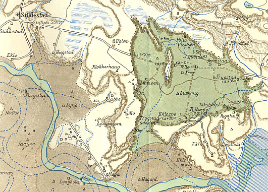 An excerpt from the Verdalsraset map showing the slide area (in olive green), Trygstad, and Stiklestad